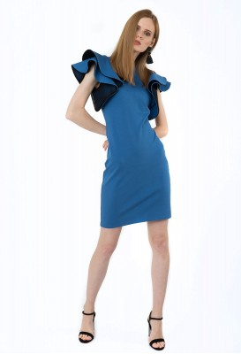Blue double volano cocoon dress
