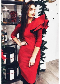 Red double volano cocoon dress