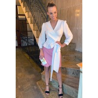 Pink skirt and shirt suit